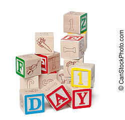 Colorful alphabet blocks. Word day isolated on white background