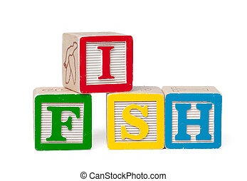 Colorful alphabet blocks. Word fish isolated on white background