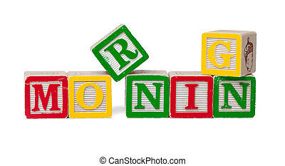 Colorful alphabet blocks. Word morning isolated on white background