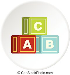 Colorful alphabet cubes icon circle