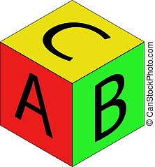 Colorful alphabet cubes with A,B,C letters. Isolated vector illustration on white background.