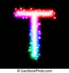 3d rendered illustration of a glitter rainbow letter