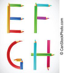 Colorful alphabet of pencils (E, F, G, H). Vector