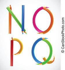 Colorful alphabet of pencils (N, O, P, Q). Vector