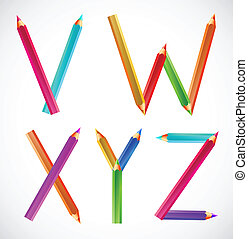 Colorful alphabet of pencils (V, W, X, Y, Z)