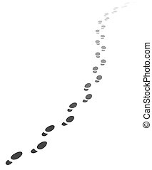 Foot steps walking away. Vector illustration of receding human footprints with copy space. Vector EPS10.