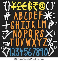 colorful alphabets, numbers and special characters - hand written vector icons set