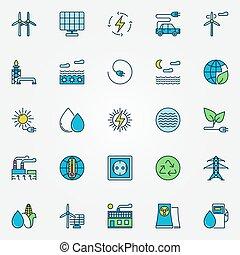 Colorful alternative energy icons