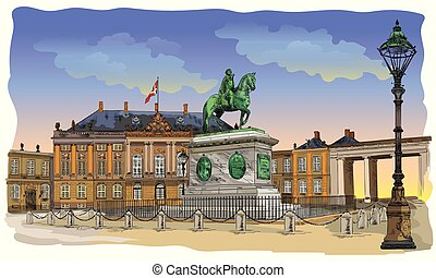 Colorful Amalienborg Square in Copenhagen
