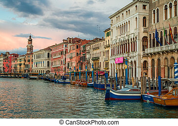 Colorful ancient buildings on Grand Canal in Venice