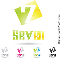 colorful and abstract icons for number 7, set 9 - vector...