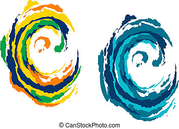 Colorful and blue waves