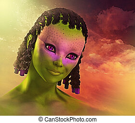 Colorful and Cute Alien Girl