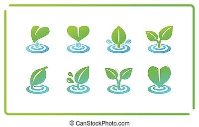 leaf and ripple icon set