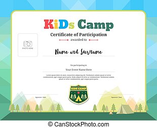 Colorful and modern certificate of partipation for kids activities or kids camp with camping background and photo space