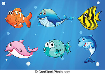 Colorful and smiling fishes under the sea - Illustration of...