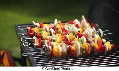 Colorful and tasty grilled shashliks on outdoor summer...