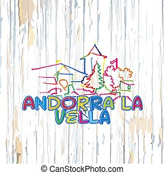 Colorful Andorra drawing on wooden background