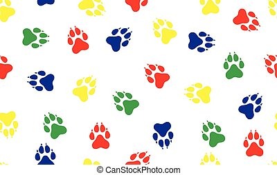 Colorful animal footprints. Seamless pattern. Vector illustration