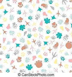 Colorful animal footprints seamless pattern
