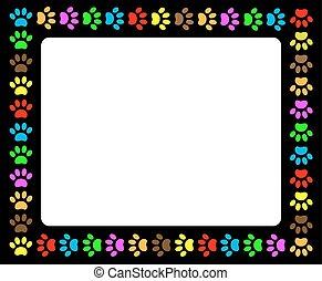 Colorful animal paw prints black frame