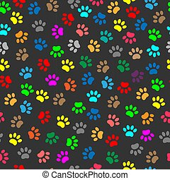 Colorful animal paw prints seamless pattern - Multicolored ...