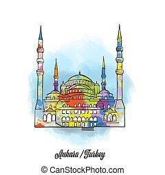 Colorful ankara mosque sign