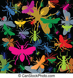 Colorful ants insects silhouettes background vector