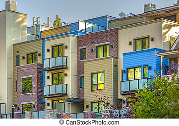 Colorful apartments in a row in Park City downtown