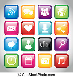 colorful app buttons over gray background. vector illustration