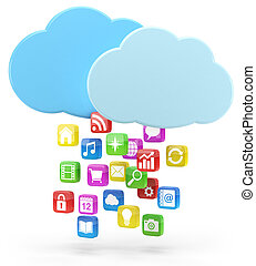 colorful app icons and cloud - high quality 3d illustration