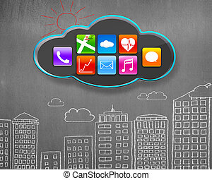 colorful app icons on black cloud with buildings doodles concrete wall background
