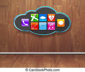 colorful app icons on black cloud with wooden interior backgroun