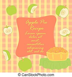 Colorful Apple Pie Recipe Leaflet. Hand Drawn Doodle Style...