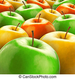 Lots of ripe colorful apples