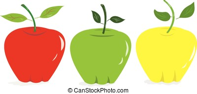 colorful apples - vector, colorful red, green and yellow ...