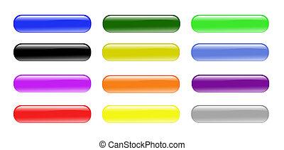 Glass Buttons - Colorful aqua Glass Buttons
