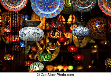 Colorful Arabic lanterns - Colorful Arabic lantern and...