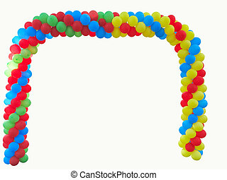 Colorful arch of red blue yellow green balloons isolated over white