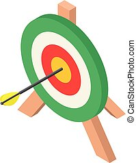 Colorful archery target icon, isometric style