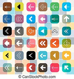 Colorful Arrow Buttons on Square Background. Vector Arrow Icons Set.