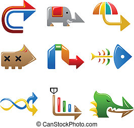 Colorful arrow signs