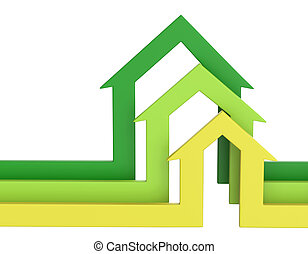 Colorful arrows. Bussines concept. Abstract house background