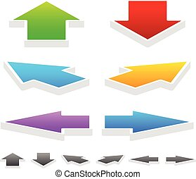 Colorful Arrows in Different Directions: 3D Up, Down, Left, Right and Diagonal Arrows