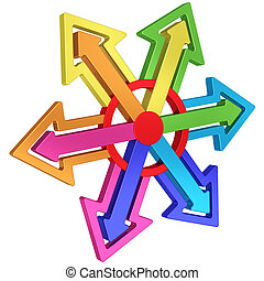Colorful arrows of different directions with red center on white