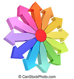 Colorful arrows of different directions with red center on...