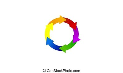 Colorful arrows, recycle concept, video animation. Business...