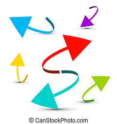 Colorful Arrows Set Islated on White Background - Vector