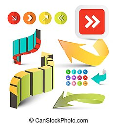 Colorful Arrows Set. Vector 3D Arrow Icons Isolated on White Background.