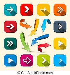 Colorful Arrows Set. Vector Arrow Icon.